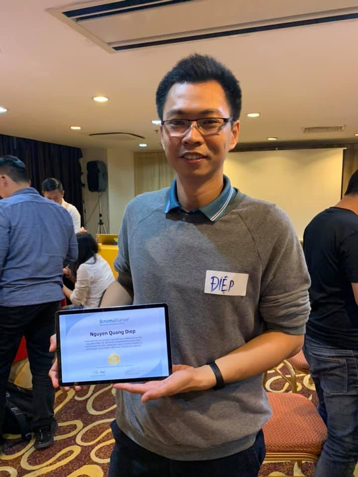 Anh Nguyễn Quang Điệp đã hoàn thành xuất sắc khóa học và nhận ngay chứng chỉ sau khi hoàn thành khóa học